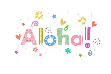 Aloha message for greeting card Ilustração