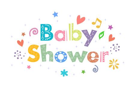 Baby Shower Boodschap voor kaart ontwerp Stockfoto - 47555650