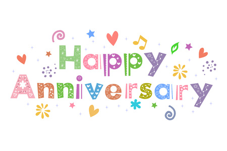 anniversario matrimonio: Anniversario Messaggio felice per card design Vettoriali