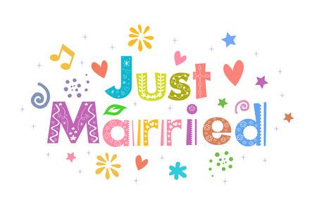 pareja de esposos: Mensaje Just Married para el diseño de tarjetas