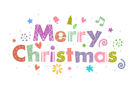 25 december: Merry Christmas Message for greeting card design