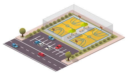 Vector Isometric Basketball Field Ilustração