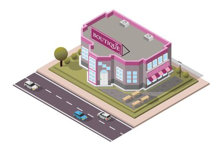 Vector Isometric Boutique Shop Çizim