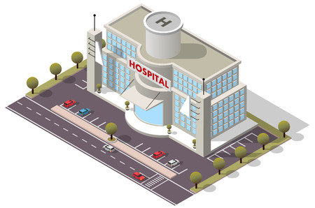 Vector isometric Hospital Building