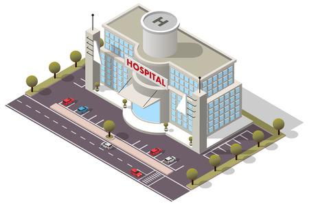 construccion: Vector isométrica Hospital Building