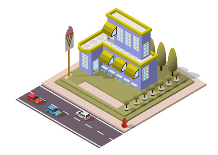 Vector Isometric Restaurant Building for map