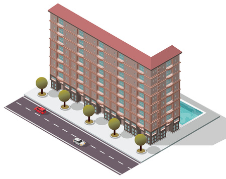 Vector Isometric Flats Apartment for map