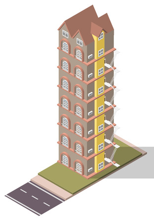 Vector Isometric Flats Apartment for tile map