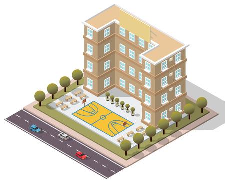 university sign: Vector Isometric School University for map Illustration
