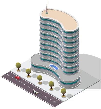 Vector Isometric Hotel Apartment Building for map
