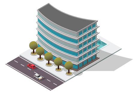 awnings windows: Vector Isometric Hotel Apartment Building for map