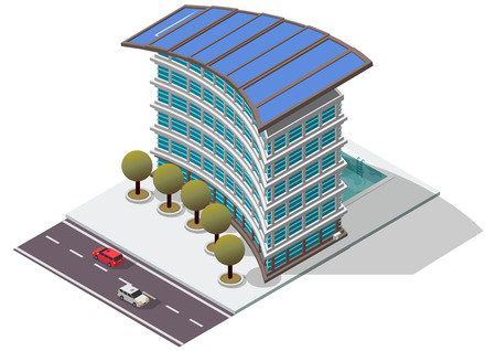 awnings: Vector Isometric Hotel Apartment Building for map
