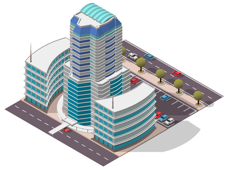 window case: Vector Isometric Hotel Apartment Building for map