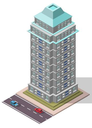 office building: Vector Isometric Office Workplace Building for map