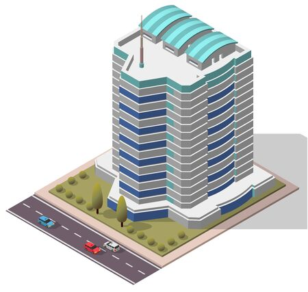 midtown: Vector Isometric Office Workplace Building for map