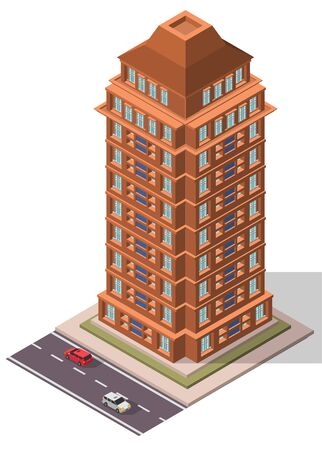 Vector Isometric Office Workplace Building for map