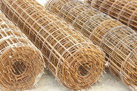 wire mesh: roll of  wire Rusting wire mesh structure Stock Photo