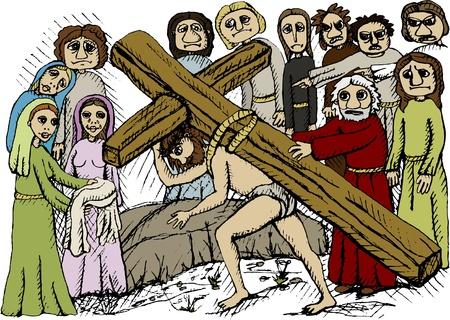 cross carrying Stock Vector - 11943556