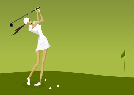 courses: Illustration of female golf player Illustration