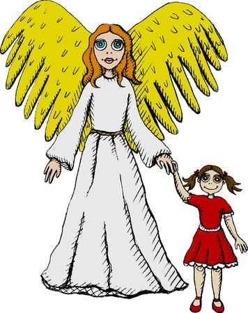 angel de la guarda: Ilustración vectorial de ángel de la guarda