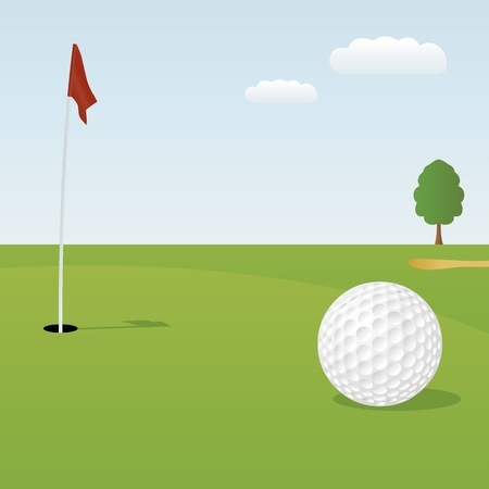 golf hole: Vector illustration of golf ball on green