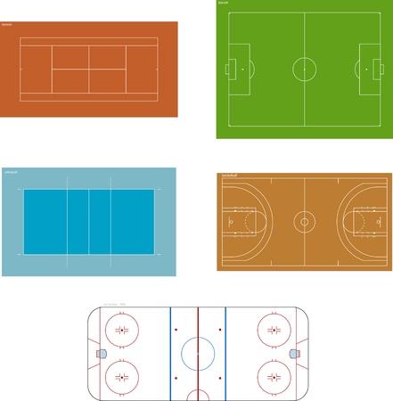 hockey sobre cesped: Varios patios de vectores (en escala)