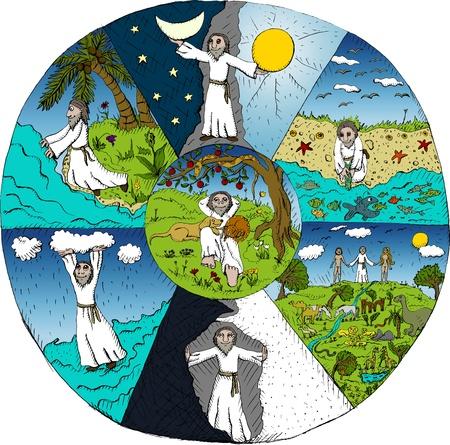 Ilustración vectorial de la Creación del mundo