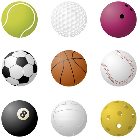 floor ball: Various vector sport balls