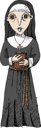 Vector illustration of nun Vector