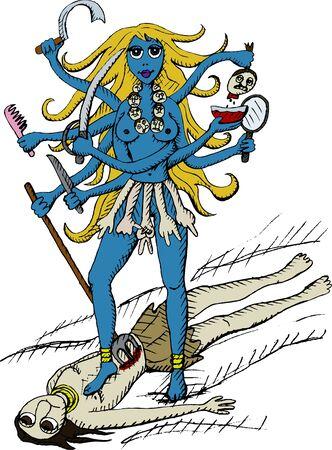 hindu goddess: Vector Illustration of Goddess Kali Illustration