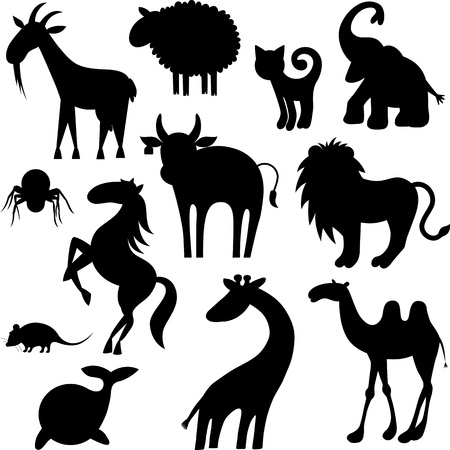 giraffe silhouette: Set of stylized animals silhouettes