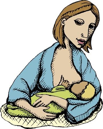 lactancia materna: Ilustraci�n vectorial de la madre de la enfermer�a con el beb�