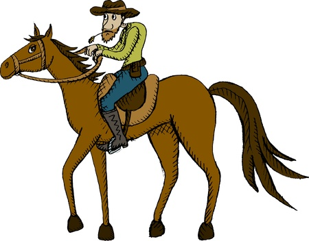 cowboy on horse: Vector illustration of horse rider