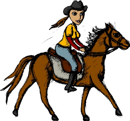 horseback riding: Vector illustration of horse rider