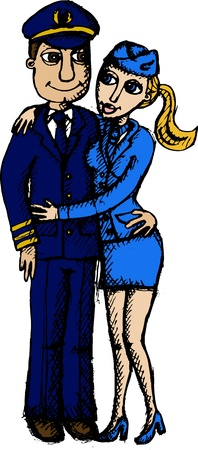 Vector illustration of pilot with stewardess