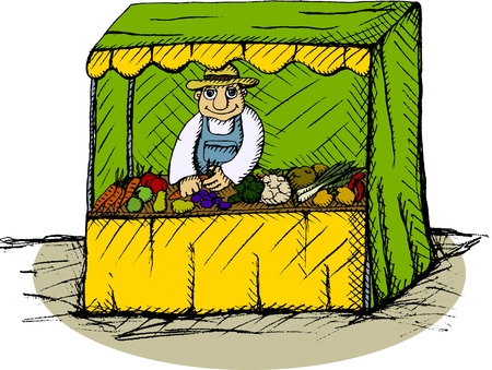Vector illustration of greengrocer in the booth Vector