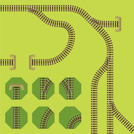 railroad transport: Segments for easy creating own rail tracks Illustration