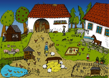 country life: Highly detailed vector illustration of farm life Illustration