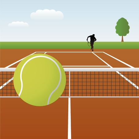 Vector illustration of tennis court with player Vector