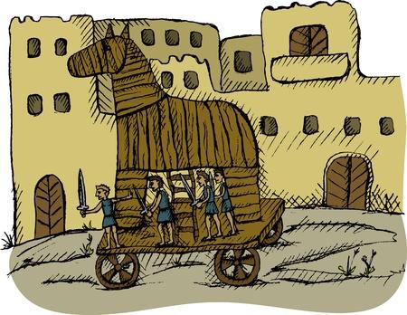 cavallo di troia: Illustrazione vettoriale di cavallo di Troia Vettoriali