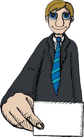 carte de visite vierge: Vector illustration d'un homme tenant une carte de visite vierge Illustration