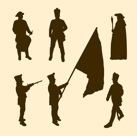 napoleon: Vector silhouetten van napoleon soldaten