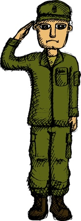 trooper: Vector illustration of saluting soldier