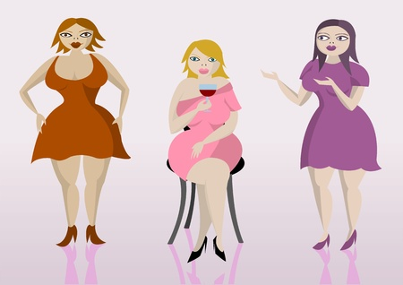 Vector illustration of three overweight women Vector