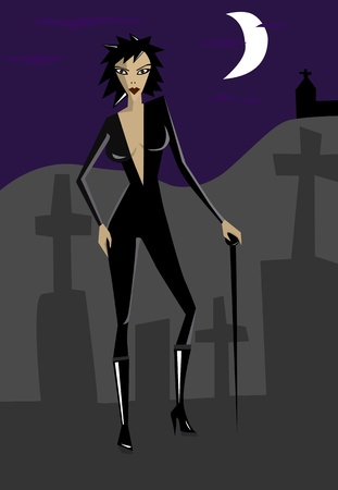 vamp: Vector illustration of vamp woman on cemetery Illustration