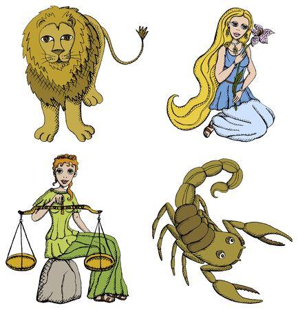 Vector Illustratie van Zodiac Signs - Leeuw, Maiden, Schalen en Scorpion. Zie mijn portfolio voor andere tekens. Vector Illustratie