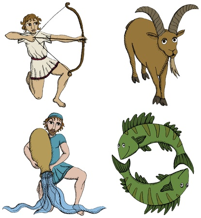 sagittarius: Vector Illustration of Zodiac Signs - archer, goat-horned, water-bearer and fish. See my portfolio for other signs.