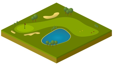 golf hole: vector isometric model of golf course Illustration