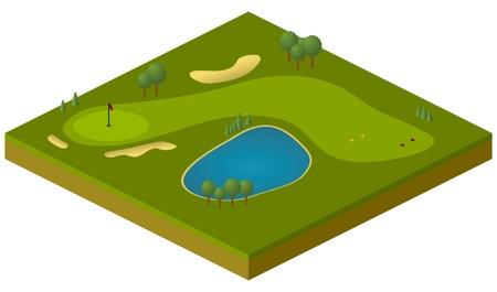 isometric: vector isometric model of golf course Illustration