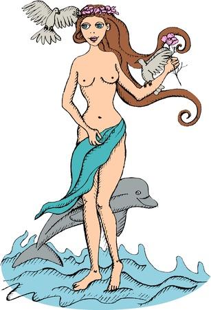 afrodita: Ilustraci�n vectorial de la diosa Afrodita Vectores